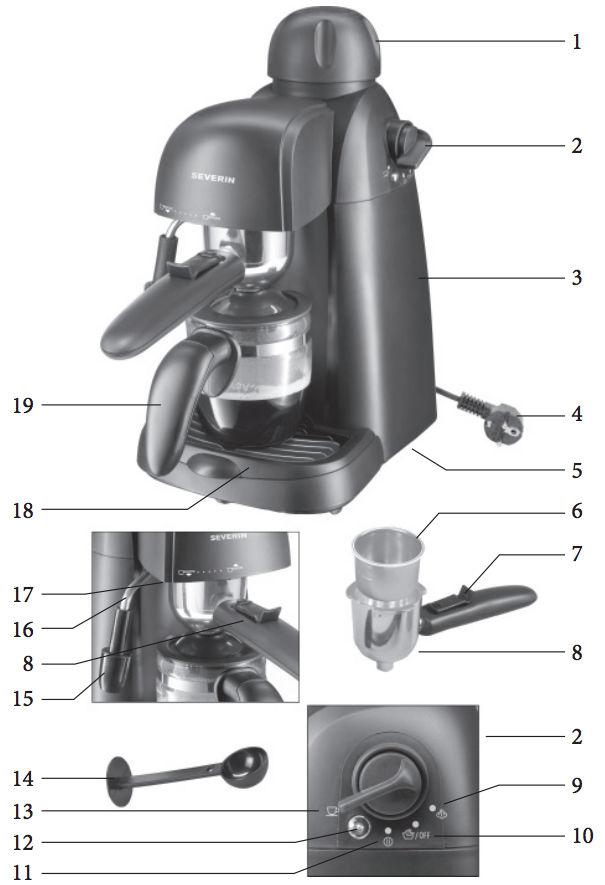 Severin KA 5979 - Cafetera Espresso - Partes de la cafetera