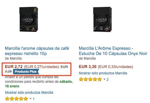 Cápsulas de café Dolce Gusto y Marcilla l'arome Nespresso rebajadas de precio (Producto Plus en Amazon España)