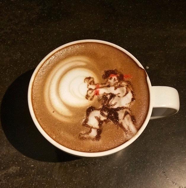 hadouken Ryu coffee latte art