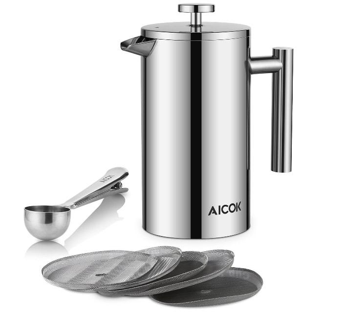 Mención especial por su excelente diseño y fabricación:Aicok cafetera francesa
