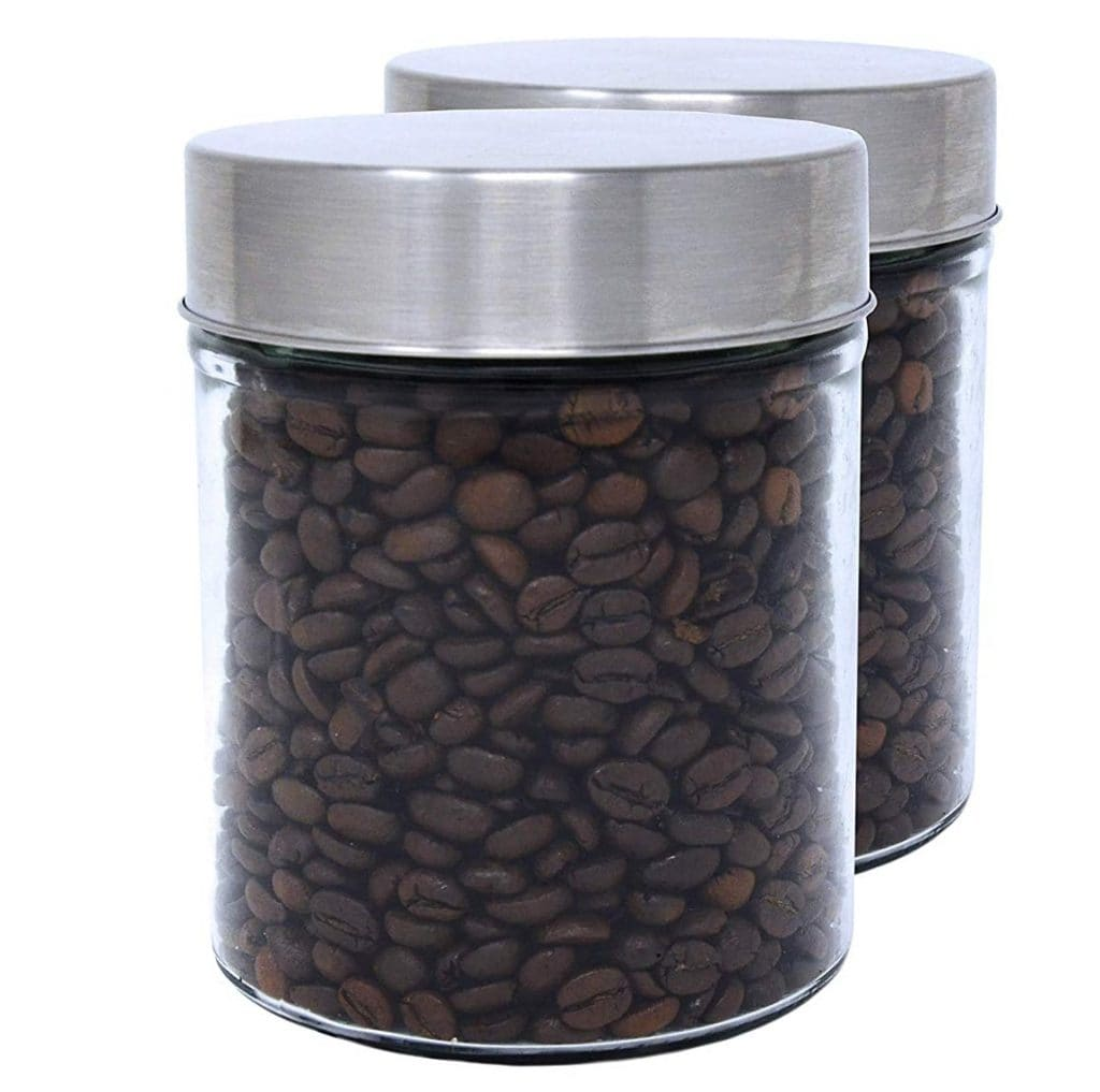 bote de cristal para guardar granos de cafe