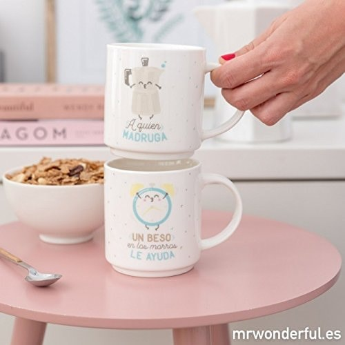 Mr. Wonderful - Set de 2 tazas apilables para parejas que encajan