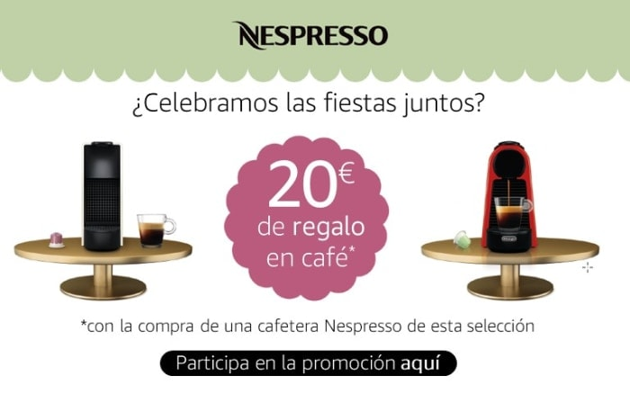 Disfruta de 20€ de regalo en cápsulas de café Nespresso con la compra de una cafetera Nespresso