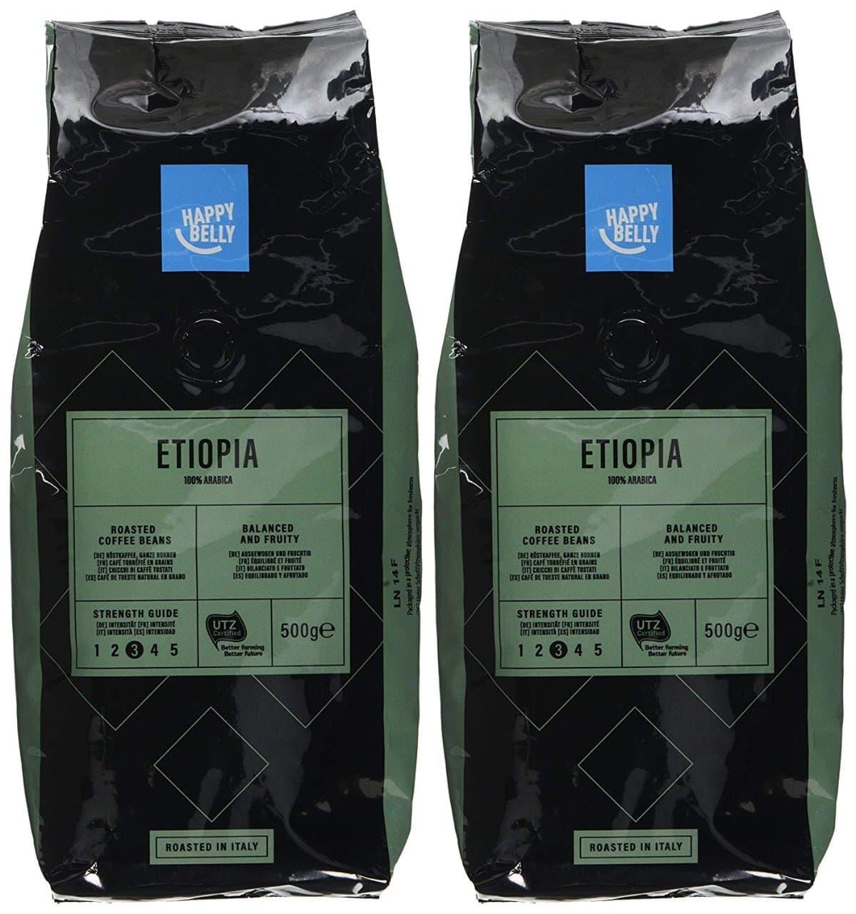 """Marca Amazon - Happy Belly Café de tueste natural en grano """"ETIOPIA"""" (2 x 500g)"""