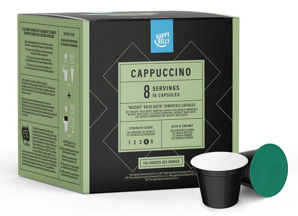 Marca Amazon- Happy Belly - Cápsulas de café Cappuccino compatibles con NESCAFÉ DOLCE GUSTO