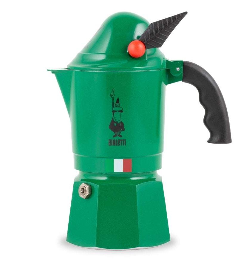 Bialetti Alpina, cafetera italiana de aluminio Verde