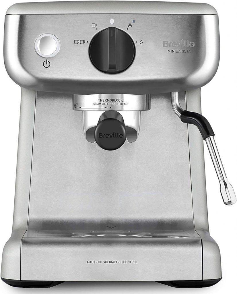 Breville MiniBarista VCF125X - máquina de café expreso, totalmente automática con espumador de leche al vapor y bomba italiana de 15 bares