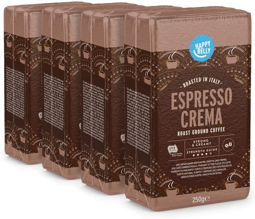 """Happy Belly Café molido """"Espresso Crema"""" (4 x 250g)"""
