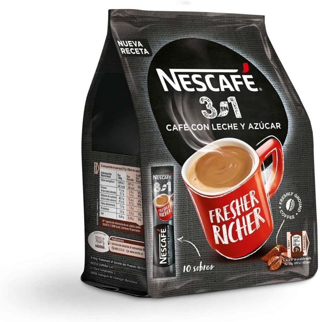 Nescafé 3 en 1 - Café soluble con leche y azúcar