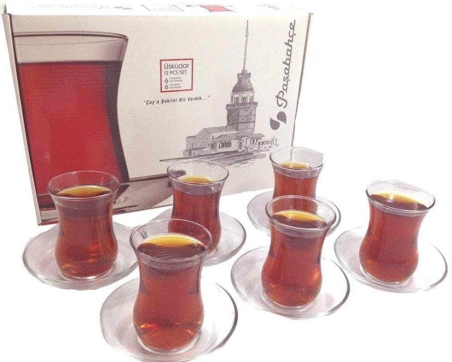 Juego de vasos y platillos turcos de té, diseño Pasabahce