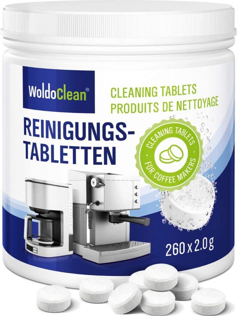 Pastillas para limpieza de cafeteras de WoldoClean: 260 tabletas.